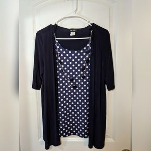 Navy and white polka dot shirt